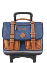 Cartable à Roulettes Enfant 2 Compartiments Cameleon Bleu vintage chine VIN-CR38
