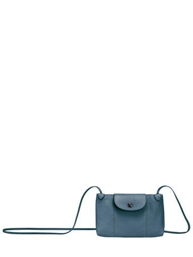 Longchamp Le pliage cuir Sac porté travers Bleu