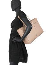 Sac Shopping Folio Tote Cuir Coach Beige folio tote 78246-vue-porte