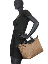 Longchamp Le pliage microknit Sac porté main Marron-vue-porte