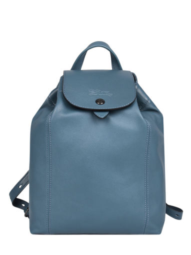 Longchamp Le pliage cuir Sac à dos Bleu