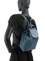 Longchamp Le pliage cuir Sac à dos Bleu-vue-porte