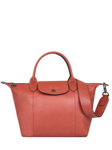 Longchamp Le pliage cuir Sac porté main Orange