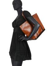 Le Cabas Moyen+ Cuir Paillettes Vanessa bruno Marron cabas cuir ZV40414-vue-porte
