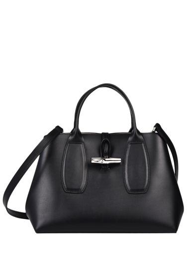 Longchamp Roseau box Sac porté main Noir