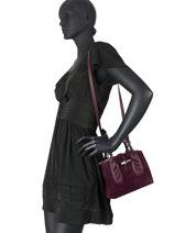 Longchamp Roseau lacet Sac porté main Rouge-vue-porte