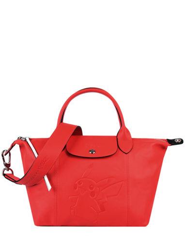 Longchamp Le pliage cuir pokemon Sac porté main Rouge