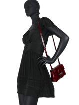Longchamp Roseau Croco Sac porté travers Rouge-vue-porte