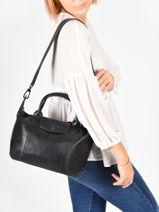 Longchamp Le pliage cuir Sac porté main Noir-vue-porte