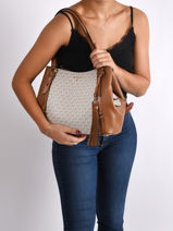 Sac Shopping Carrie Michael kors Blanc carrie F0G1AE3B-vue-porte