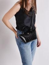 Longchamp Le pliage cuir croco Sac porté main Noir-vue-porte