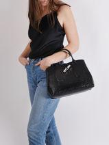 Longchamp Roseau Croco Sac porté main Noir-vue-porte