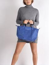 Longchamp Le pliage neo Sac porté main Bleu-vue-porte