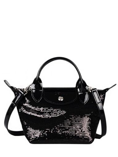 Longchamp Le pliage paillettes Sac porté main Noir