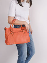 Sac Porté Main Cow Cuir Basilic pepper Orange cow BCOW22-vue-porte