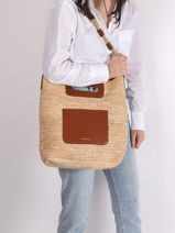 Handtas Holly Raffia En Leder Vanessa bruno Bruin holly 67V40576-vue-porte