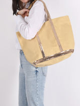 Le Cabas Moyen ++ Paillettes Vanessa bruno Jaune cabas 1V40315-vue-porte