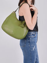 Sac Besace Tradition Cuir Etrier Vert tradition EHER21-vue-porte