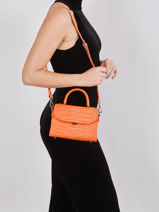 Sac Bandouliere Exotic Croco Cuir Lancaster Orange exotic croco 84-vue-porte