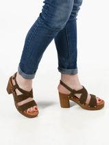 Sandalen met blokhak leder-UNISA-vue-porte