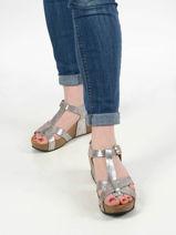 Sandalen met sleehak so cross leder-PLAKTON-vue-porte