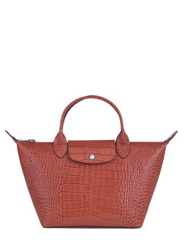 Longchamp Le pliage cuir croco Handtas Zwart