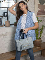 Sac à Main Pop Cuir Basilic pepper Bleu pop BPOC22