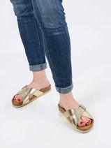 Metallic slippers bells leder-PLAKTON-vue-porte