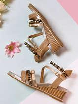 Sandalen met lage sleehak naga leder-MAM