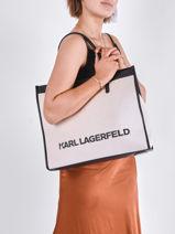 Schoudertas K/skuare Canvas Leder Karl lagerfeld Beige k skuare 211W3020-vue-porte