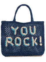 """Sac Cabas """"you Rock!"""" Format A4 Paille The jacksons word bag YOUROC"""