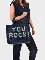 """Shoppingtas """"you Rock!"""" Van Jute The jacksons word bag YOUROC-vue-porte"""