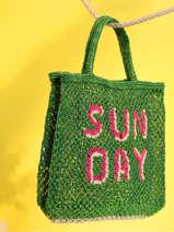 Sac Cabas Sunday The jacksons Vert word bag SUNDAY
