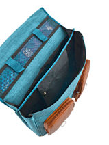 Boekentas Kind 2 Compartimenten Cameleon Blauw vintage chine VIN-CA38-vue-porte