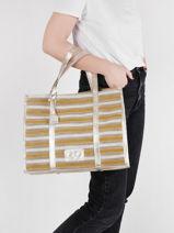 Shoppingtas Made In France Canvas En Leder Etrier Geel france EFRA01-vue-porte