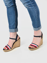 Sandalen met raffia sleehak-TOMMY HILFIGER-vue-porte