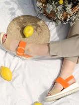 Sandalen met lage sleehak leder-GABOR
