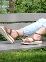 Sandalen met lage sleehak leder-TAMARIS