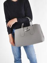 Longchamp Roseau Sac porté main Gris-vue-porte