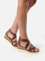 Sandalen met sleehak uit leder-TAMARIS-vue-porte