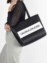Handtas Denim Calvin klein jeans Zwart denim K608563-vue-porte