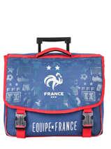 Cartable à Roulettes 2 Compartiments Federat. france football Bleu le coq 203X203R