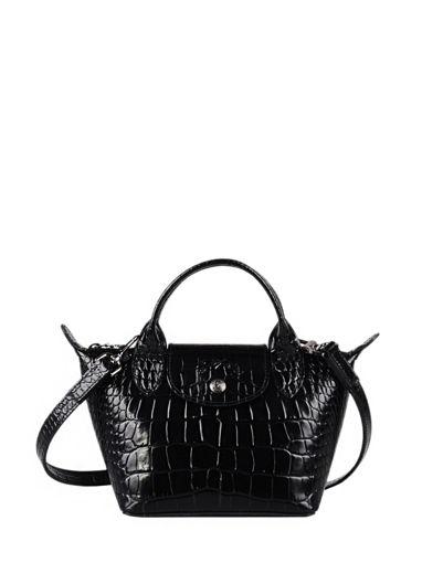 Longchamp Le pliage cuir croco Sac porté main Noir