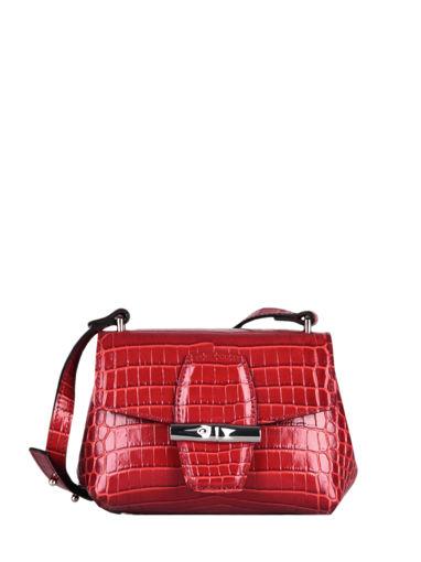 Longchamp Roseau Croco Sac porté travers Rouge