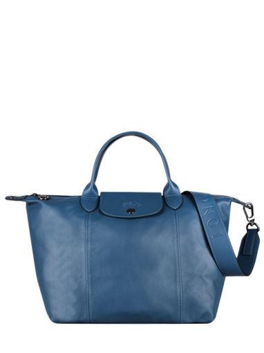 Longchamp Le pliage cuir Handtas Blauw
