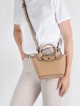 Longchamp Le pliage cuir boxy Sac porté main Beige-vue-porte