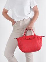 Longchamp Le pliage cuir Sac porté main-vue-porte