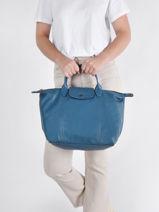 Longchamp Le pliage cuir Sac porté main Bleu-vue-porte