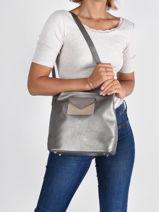 Bucket Bag Maya Leder Lancaster Zilver maya 49-vue-porte