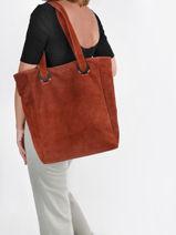 Sac Shopping Velvet Aspect Daim Milano Rouge velvet VE21062-vue-porte